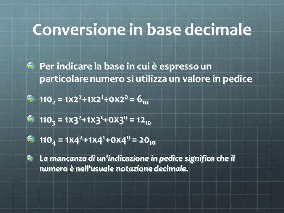 Conversione in base decimale