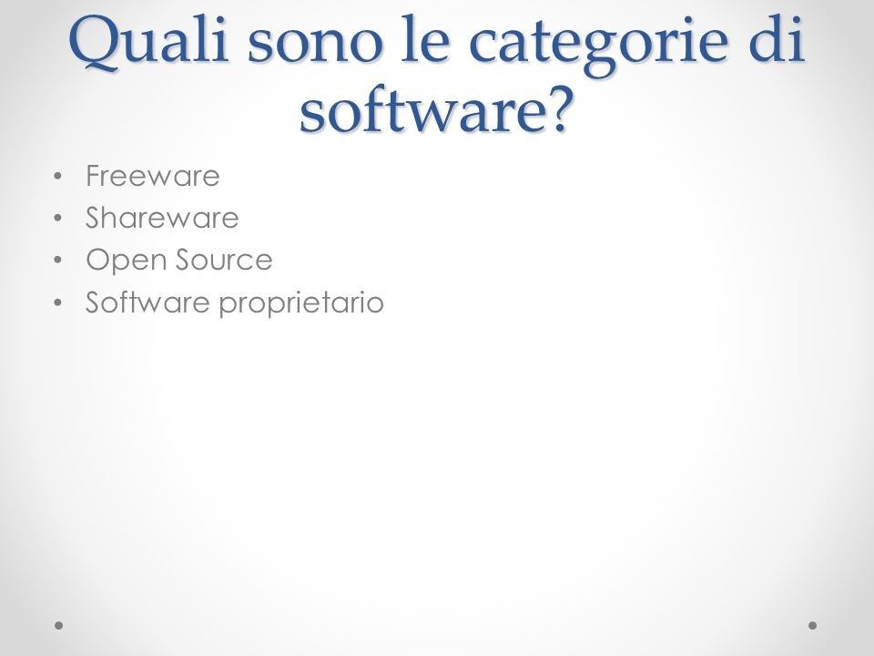 Quali sono le categorie di software