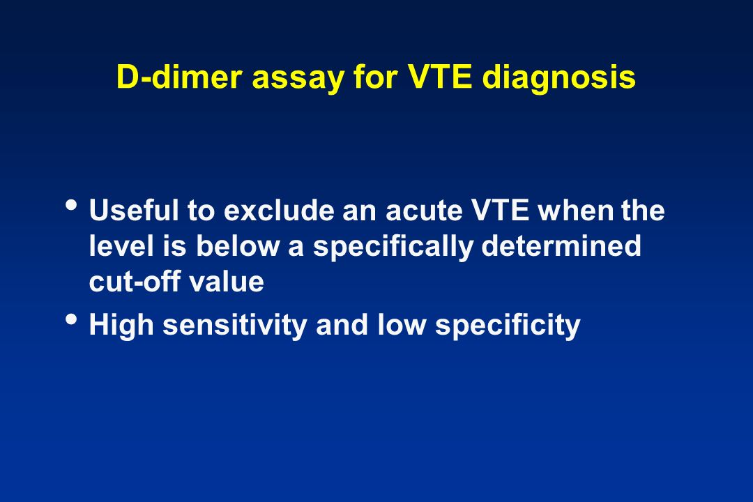 D-dimer assay for VTE diagnosis