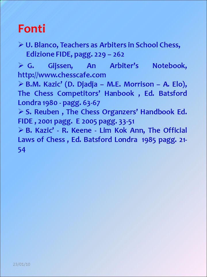 Fonti U. Blanco, Teachers as Arbiters in School Chess,