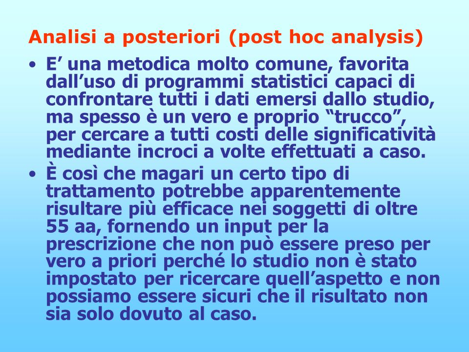 Analisi a posteriori (post hoc analysis)