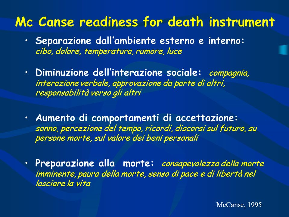 Mc Canse readiness for death instrument