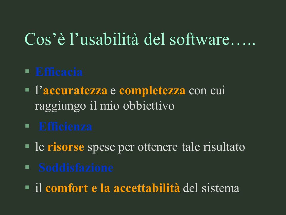 Cos'è l'usabilità del software…..