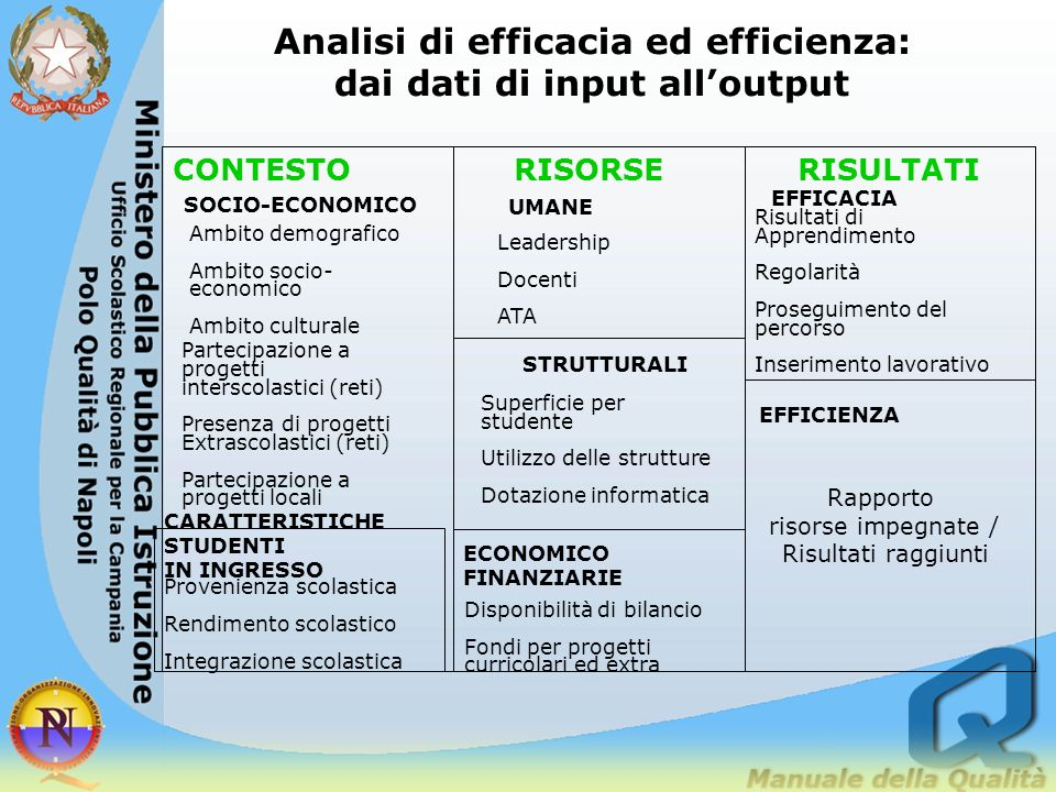 Analisi di efficacia ed efficienza: dai dati di input all'output