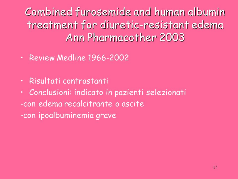 Combined furosemide and human albumin treatment for diuretic-resistant edema Ann Pharmacother 2003