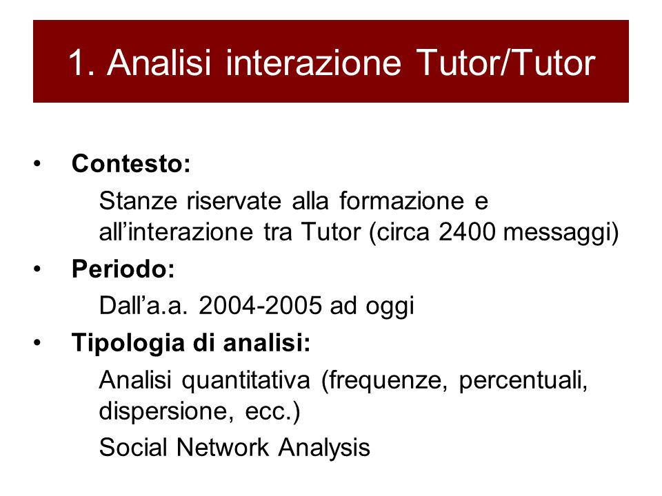 1. Analisi interazione Tutor/Tutor