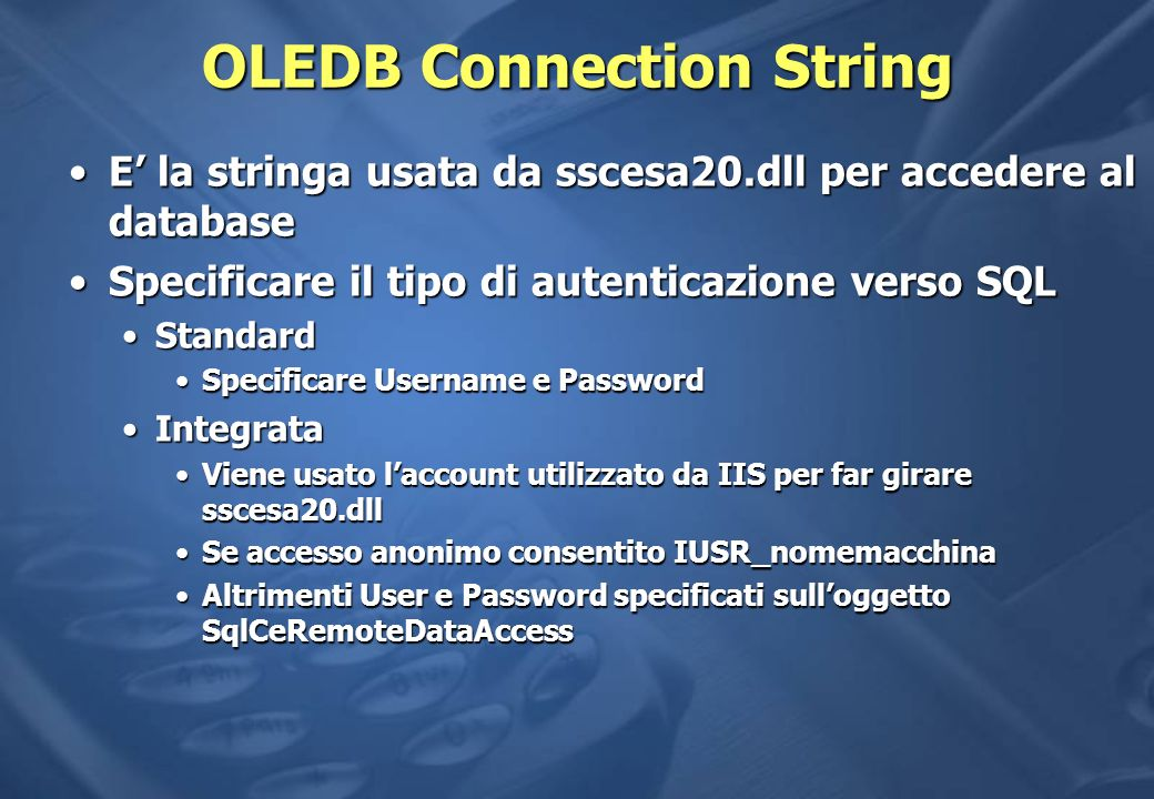 OLEDB Connection String