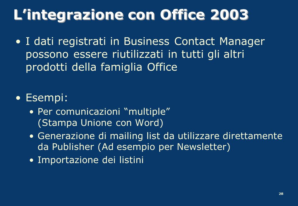 L'integrazione con Office 2003