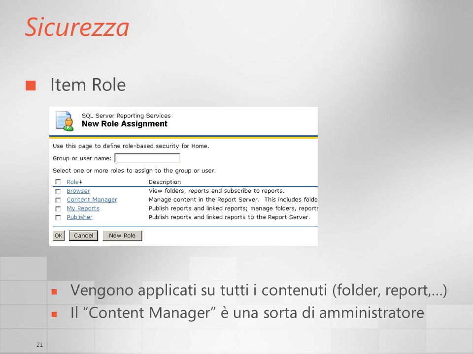 Sicurezza Item Role.