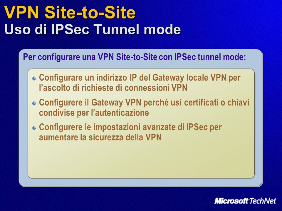VPN Site-to-Site Uso di IPSec Tunnel mode