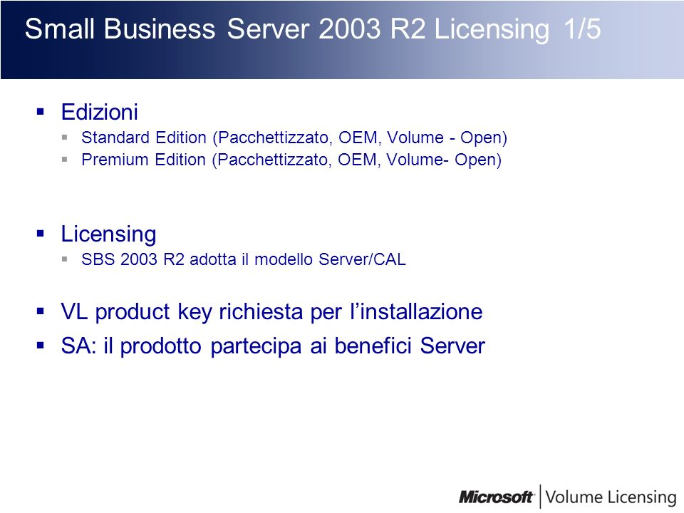Small Business Server 2003 R2 Licensing 1/5