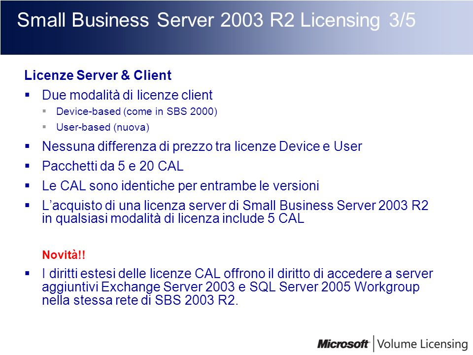 Small Business Server 2003 R2 Licensing 3/5