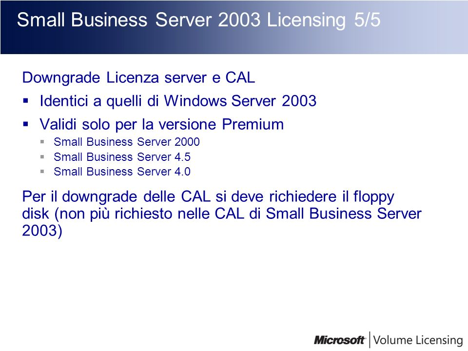Small Business Server 2003 Licensing 5/5