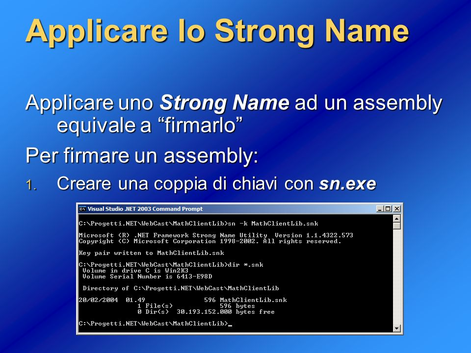 Applicare lo Strong Name
