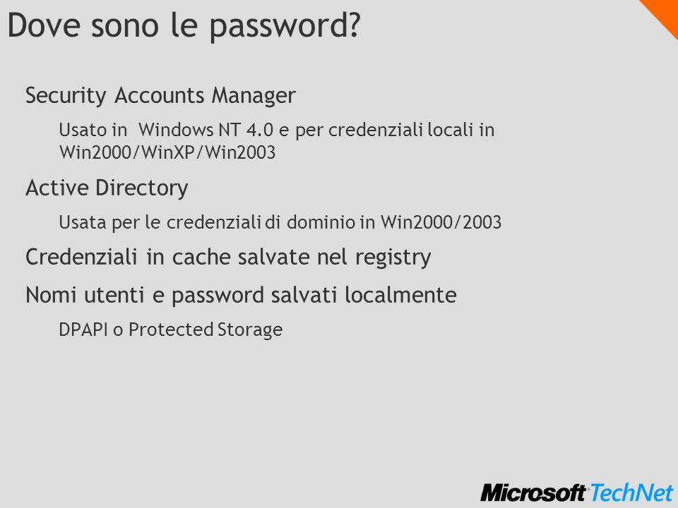 Dove sono le password Security Accounts Manager Active Directory