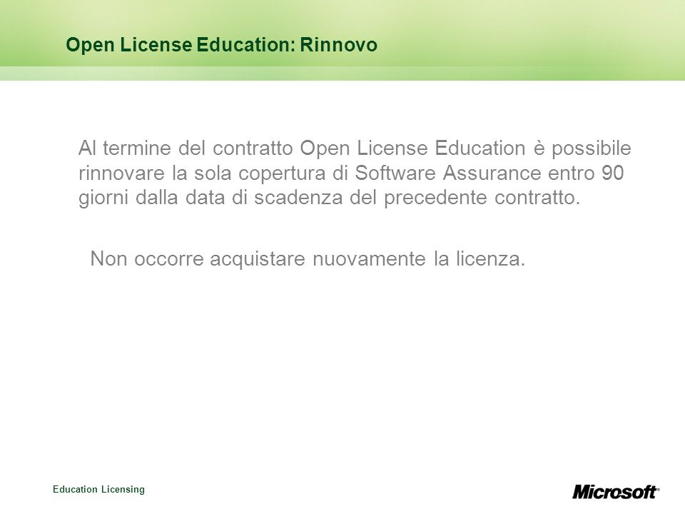 Open License Education: Rinnovo