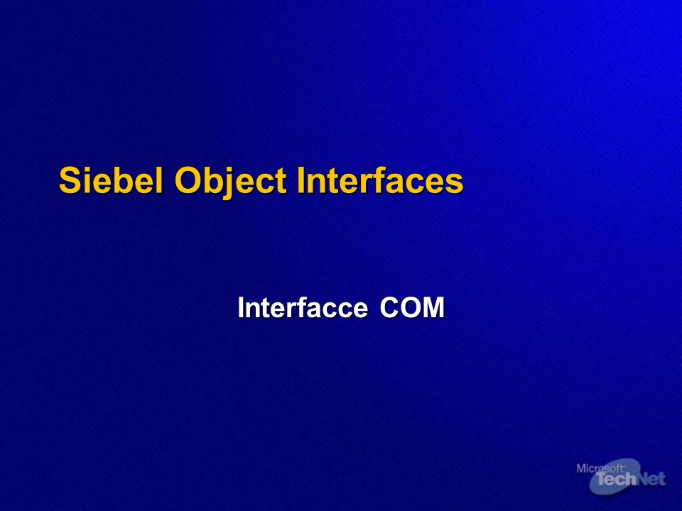 Siebel Object Interfaces