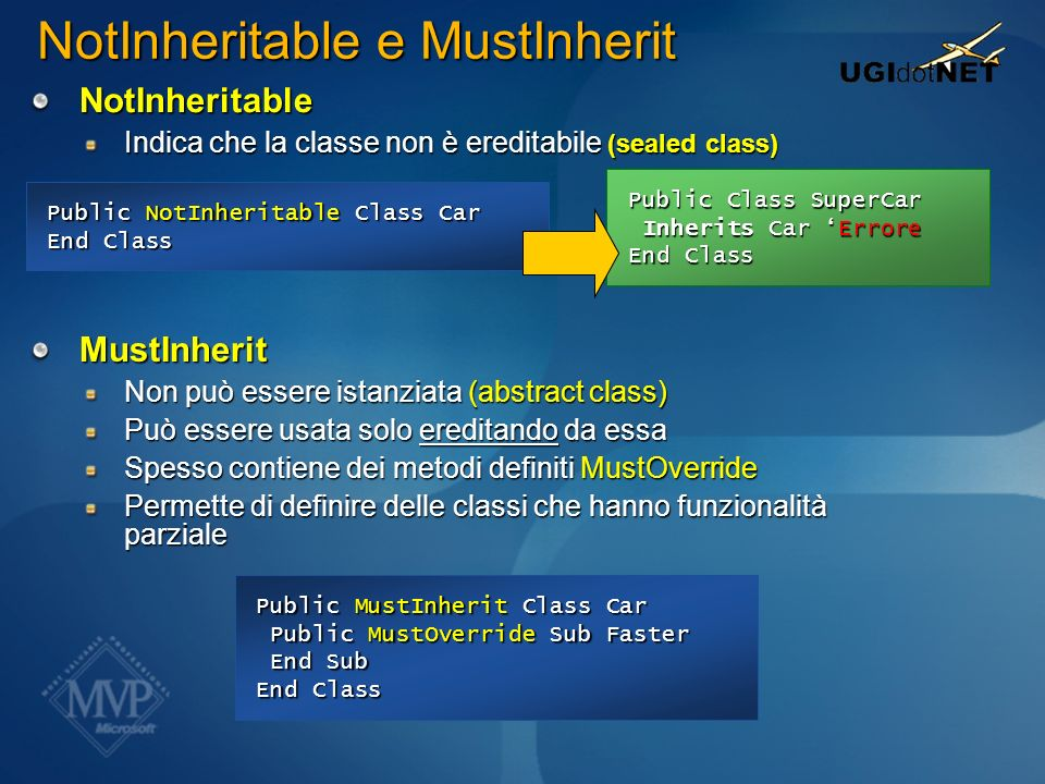 NotInheritable e MustInherit