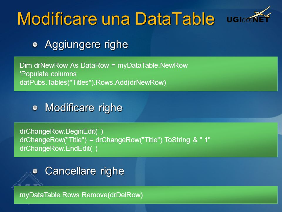 Modificare una DataTable