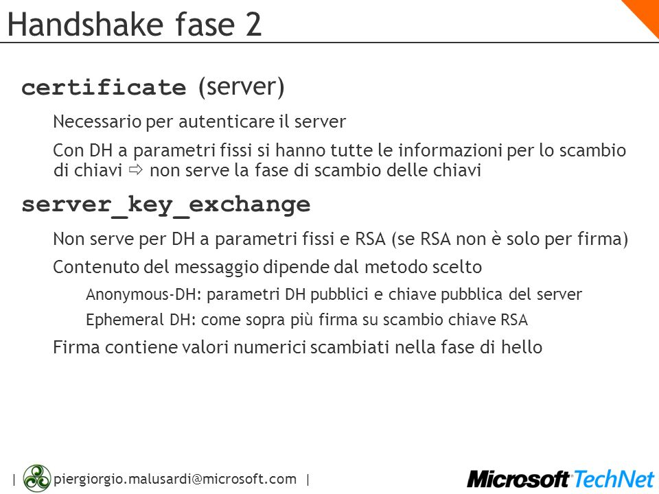 Handshake fase 2 certificate (server) server_key_exchange