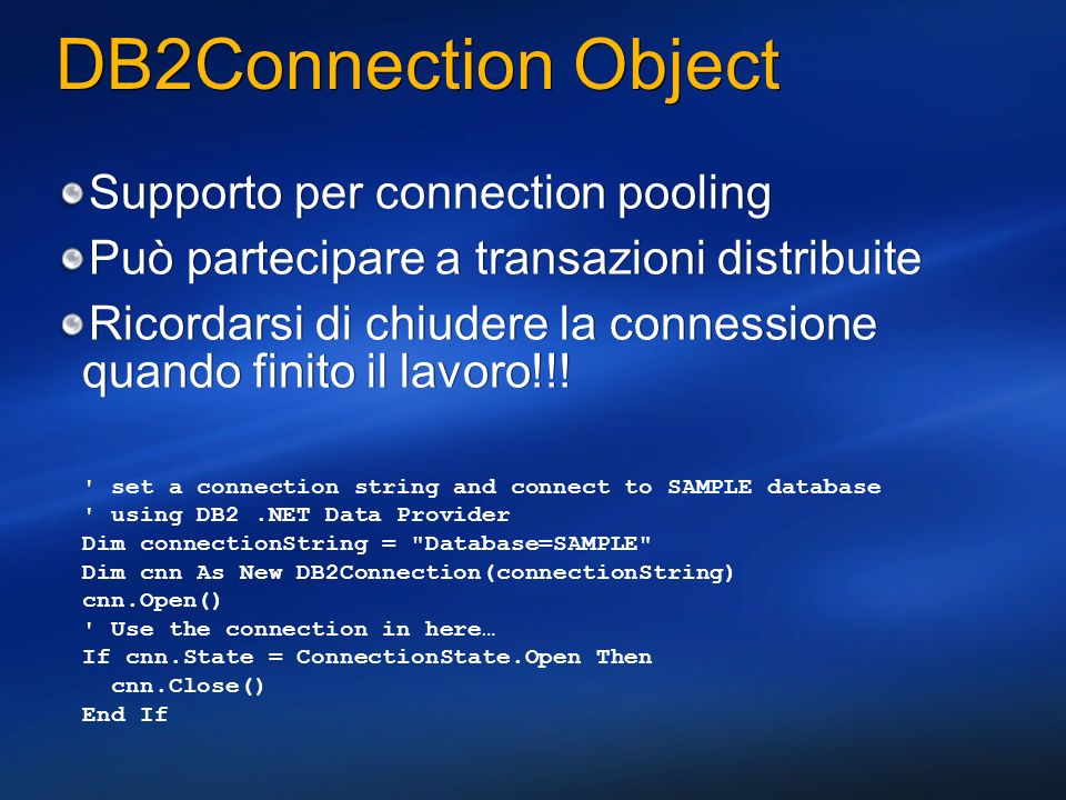DB2Connection Object Supporto per connection pooling