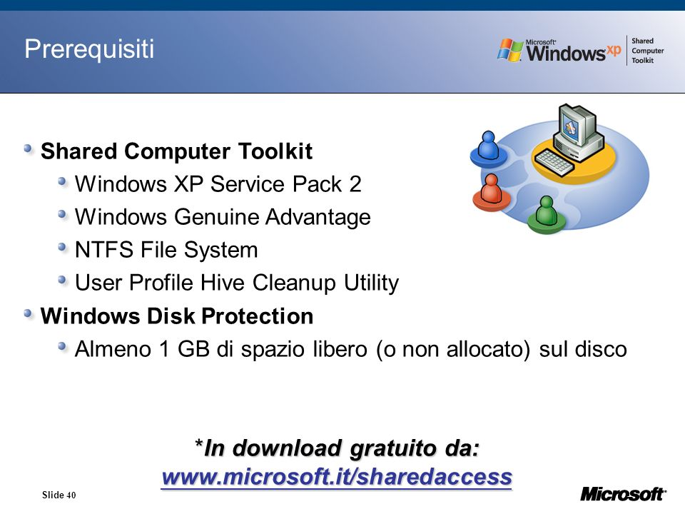 In download gratuito da: www.microsoft.it/sharedaccess