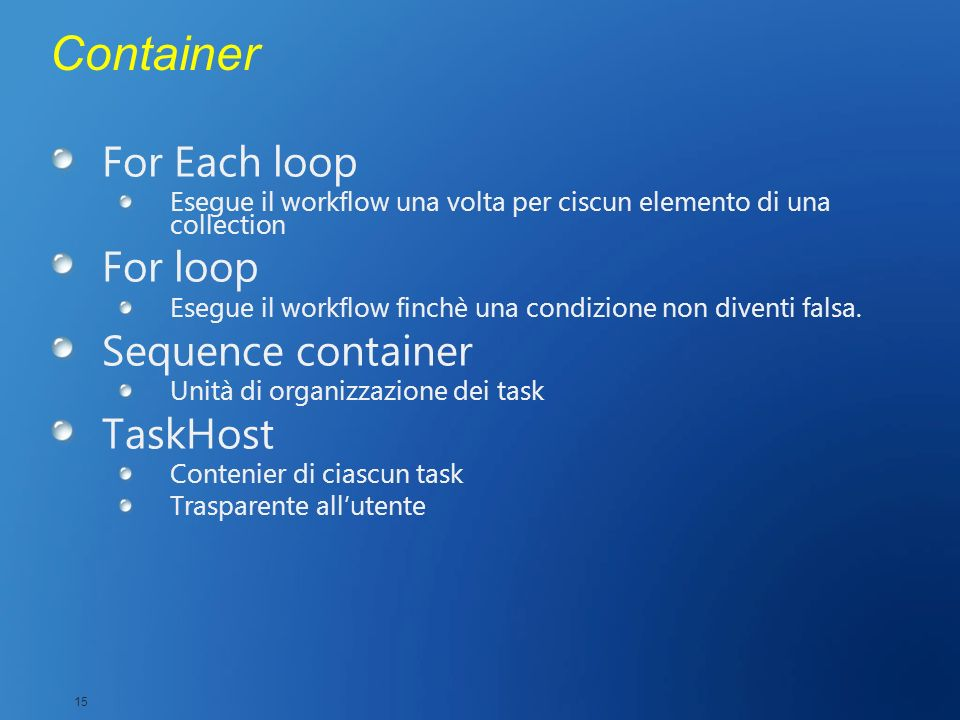 Container For Each loop For loop Sequence container TaskHost