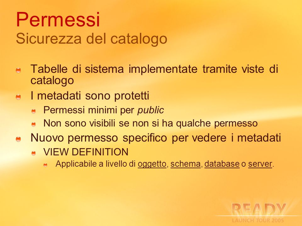 Permessi Sicurezza del catalogo