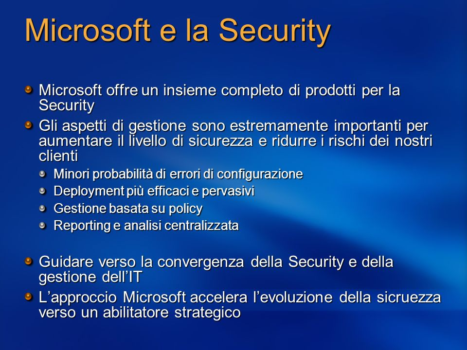 Microsoft e la Security