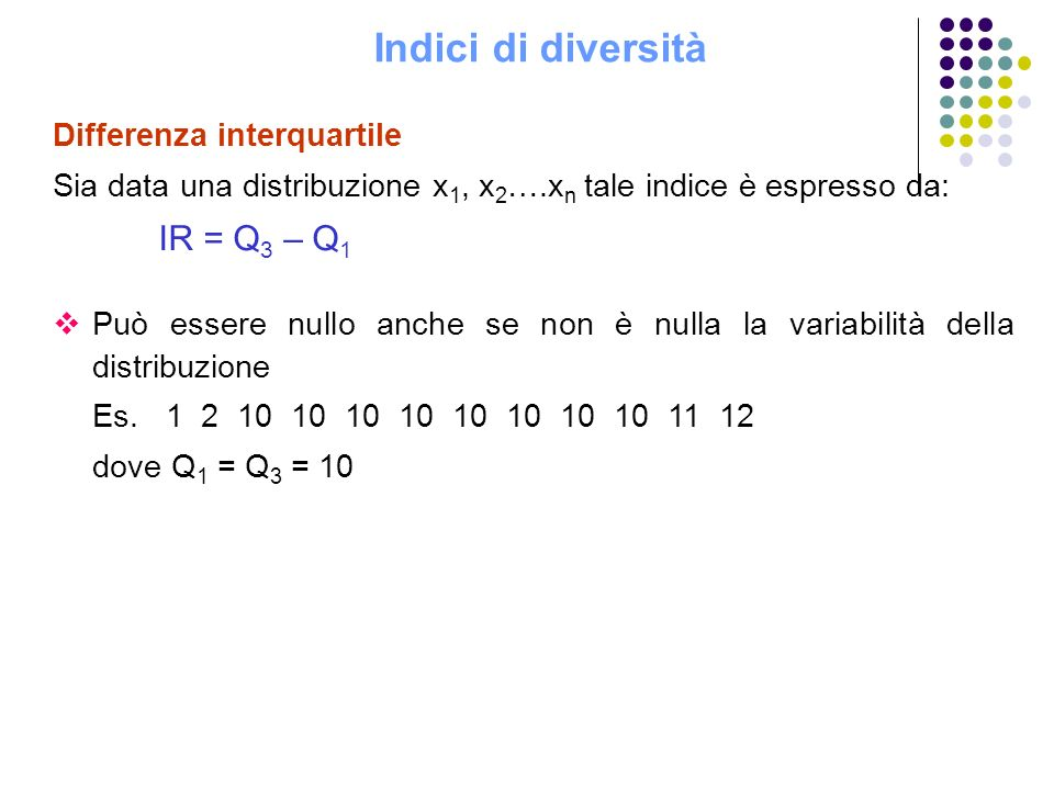 Indici di diversità Differenza interquartile