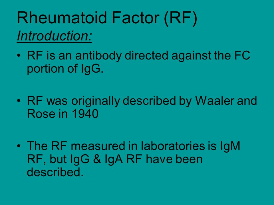 Rheumatoid Factor (RF) Introduction: