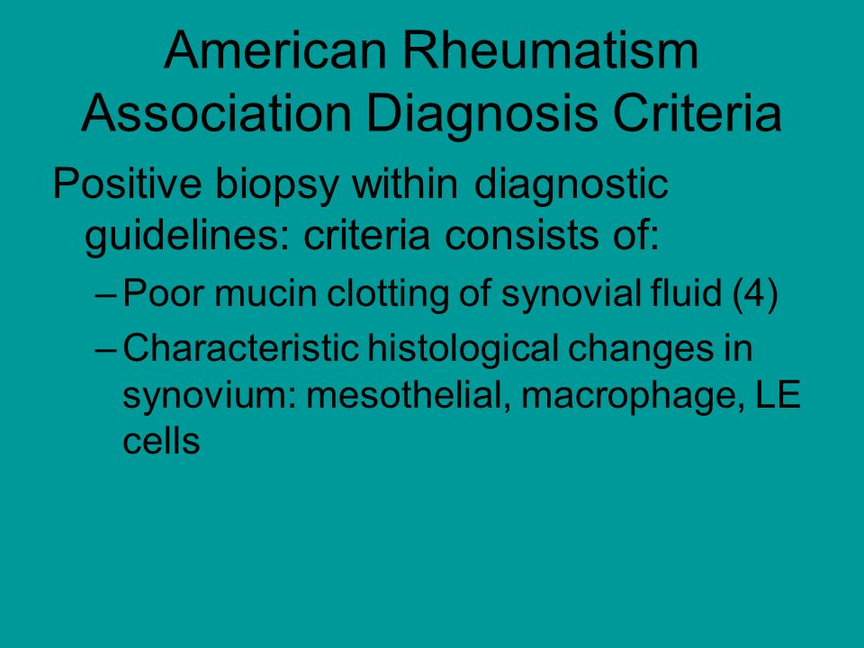 American Rheumatism Association Diagnosis Criteria