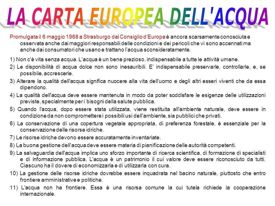 LA CARTA EUROPEA DELL ACQUA