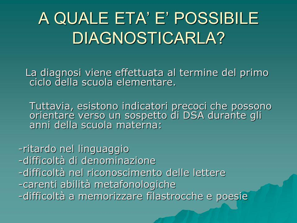 A QUALE ETA' E' POSSIBILE DIAGNOSTICARLA