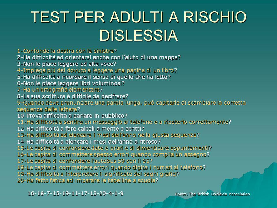 TEST PER ADULTI A RISCHIO DISLESSIA