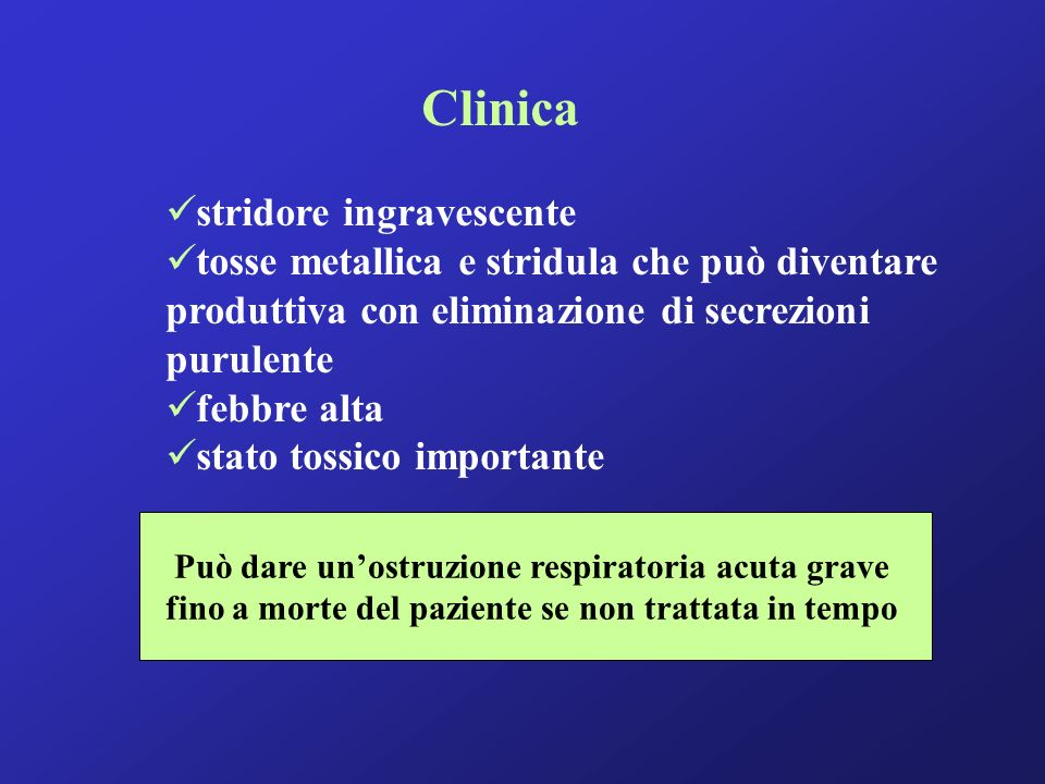 Clinica stridore ingravescente