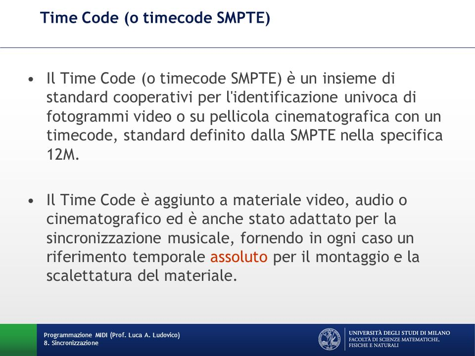 Time Code (o timecode SMPTE)