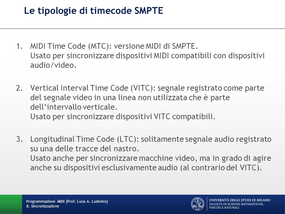 Le tipologie di timecode SMPTE