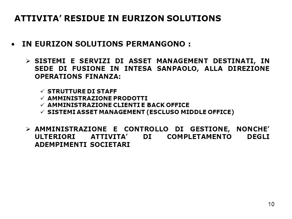 ATTIVITA' RESIDUE IN EURIZON SOLUTIONS