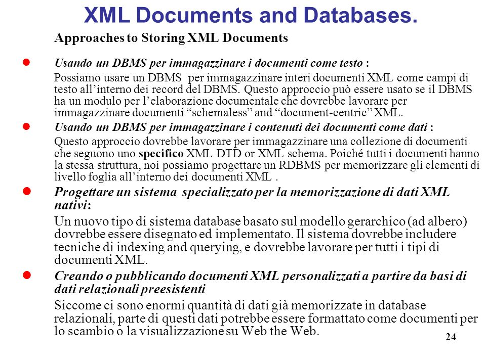 XML Documents and Databases.