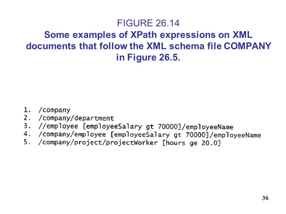 FIGURE 26.14 Some examples of XPath expressions on XML documents that follow the XML schema file COMPANY in Figure 26.5.
