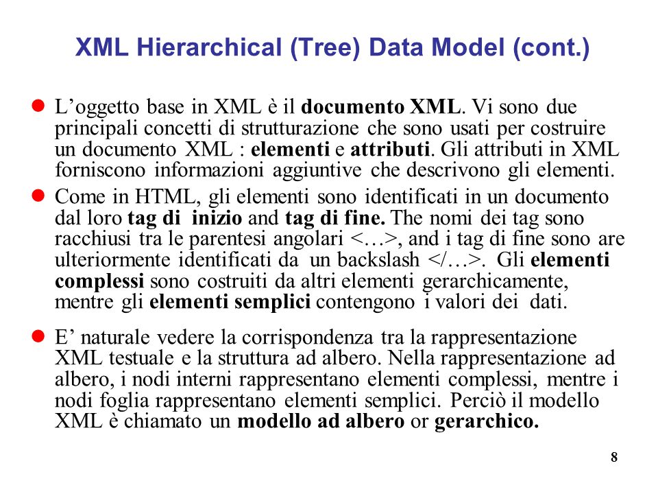 XML Hierarchical (Tree) Data Model (cont.)