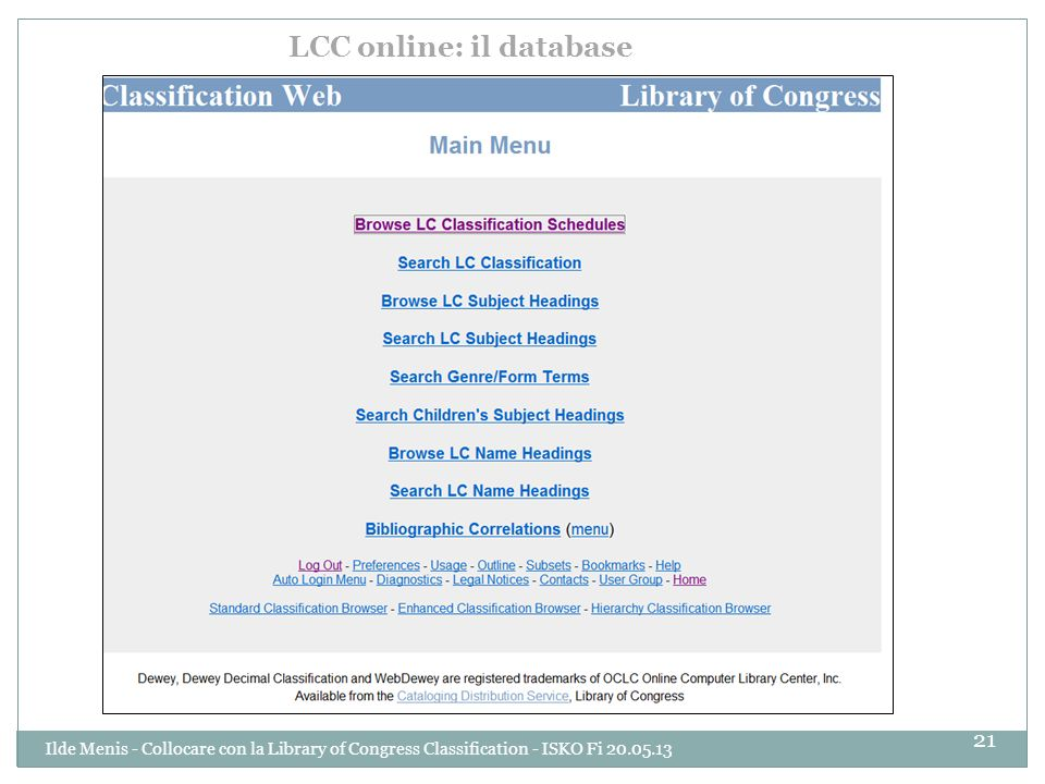 LCC online: il database