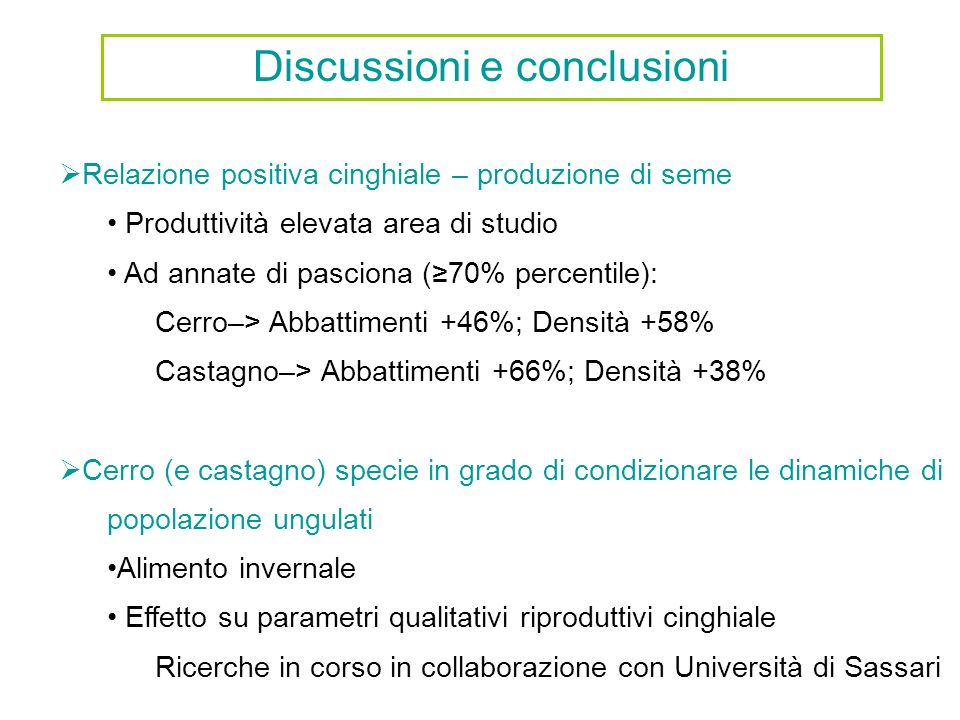Discussioni e conclusioni