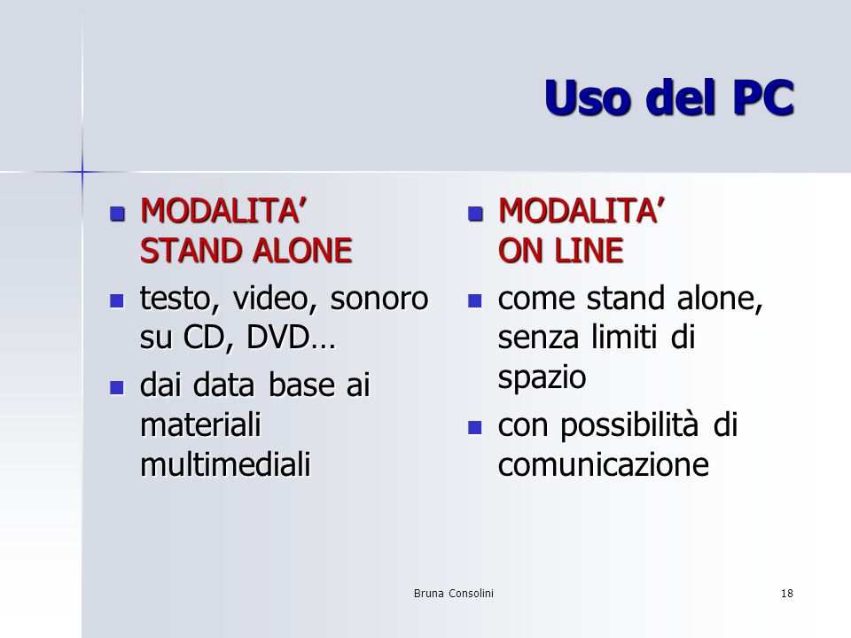 Uso del PC MODALITA' STAND ALONE testo, video, sonoro su CD, DVD…