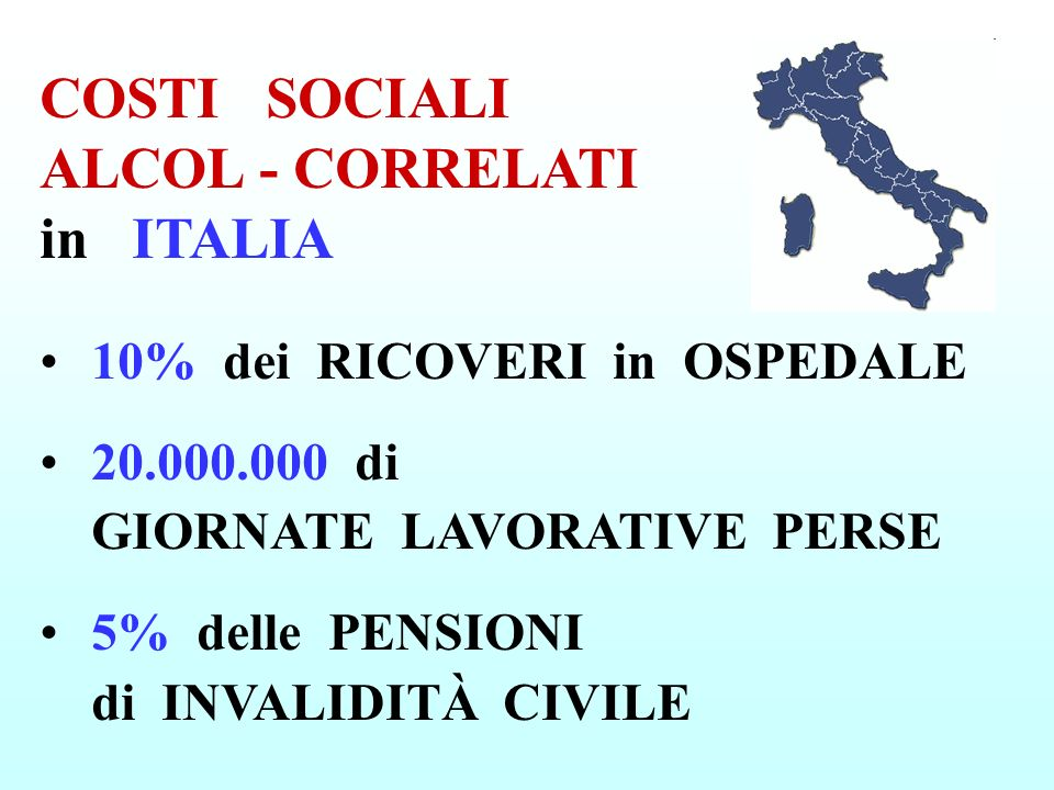 COSTI SOCIALI ALCOL - CORRELATI in ITALIA