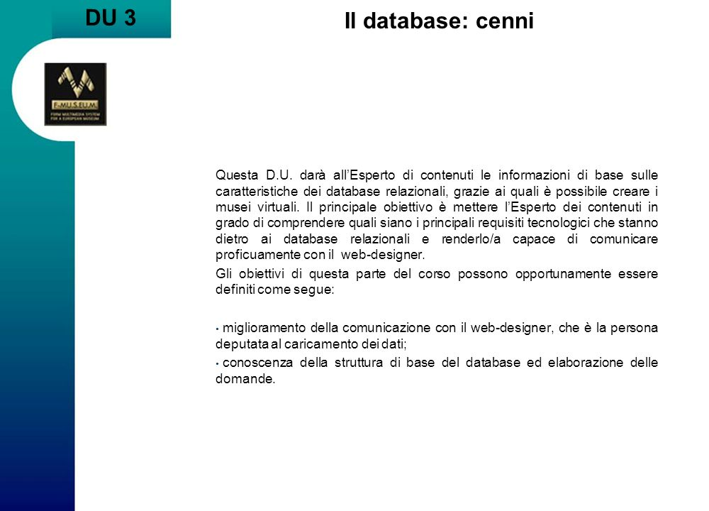 DU 3 Il database: cenni.
