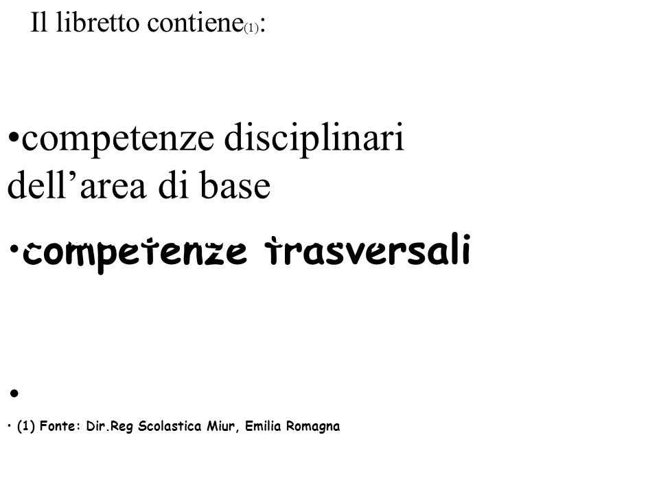 competenze disciplinari dell'area di base