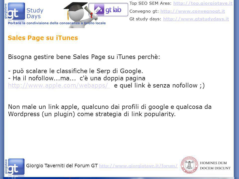 Sales Page su iTunes Bisogna gestire bene Sales Page su iTunes perchè: - può scalare le classifiche le Serp di Google.