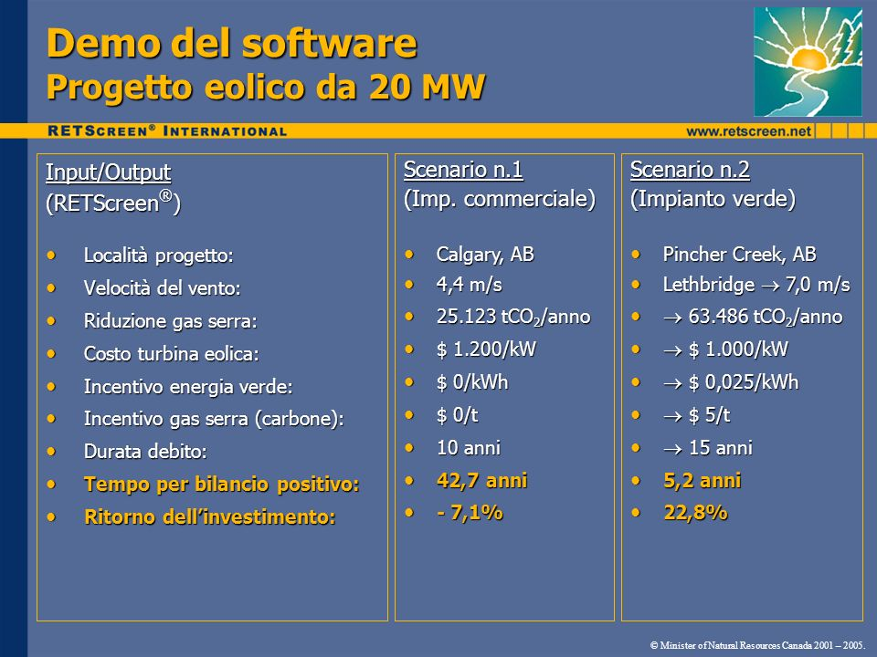 Demo del software Progetto eolico da 20 MW